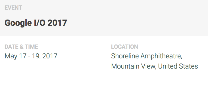 Boleto Google I/O 2017 - Shoreline Ampitheatre